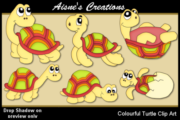 Print on Demand: Colourful Turtles Clip Art Graphic Illustrations By Aisne