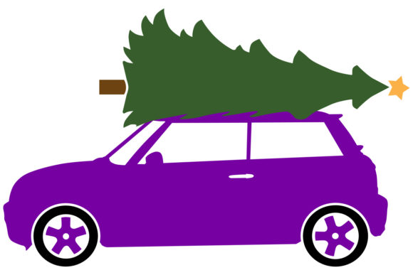 Download Free Compact Car With A Christmas Tree Graphic By Idrawsilhouettes for Cricut Explore, Silhouette and other cutting machines.