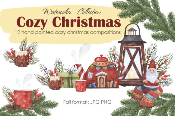 Cozy Christmas Compositions Graphic Illustrations By Mari_artchef