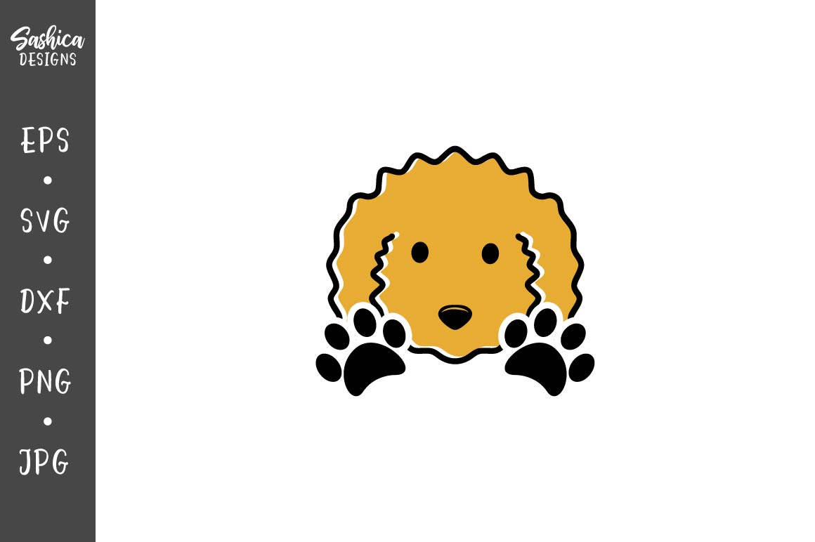 Download Free Curly Dog And Paw Print Vector Graphic By Sashica Designs for Cricut Explore, Silhouette and other cutting machines.