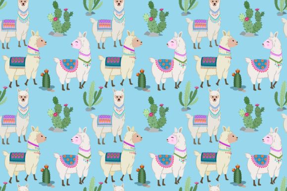Download Free Cute Alpaca And Cactus Seamless Pattern Graphic By Ranger262 for Cricut Explore, Silhouette and other cutting machines.