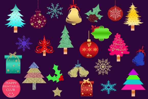 Print on Demand: Cute Christmas Clipart Holiday Graphics Graphic Illustrations By Happy Printables Club - Image 2