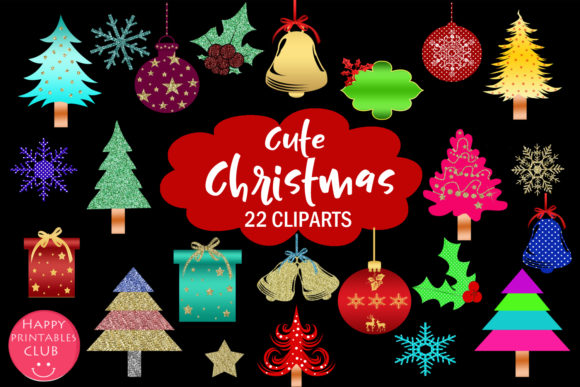 Print on Demand: Cute Christmas Clipart Holiday Graphics Graphic Illustrations By Happy Printables Club - Image 1
