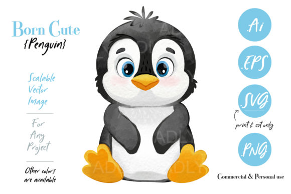 Print on Demand: Cute Girl Boy Penguin Design Graphic Illustrations By adlydigital