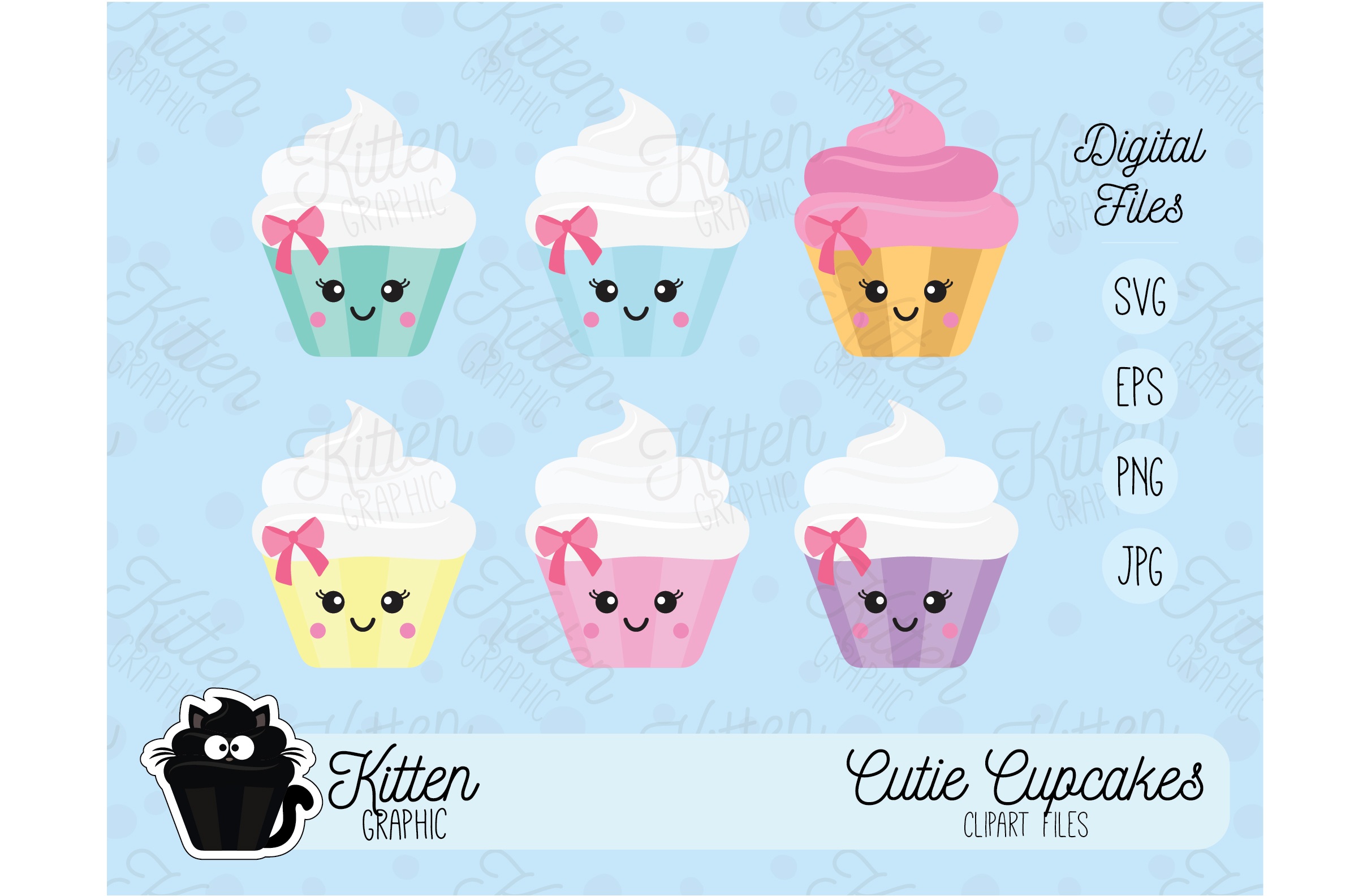 Download Free Cutie Cupcakes Set Graphic By Kittengraphicstudio Creative Fabrica for Cricut Explore, Silhouette and other cutting machines.