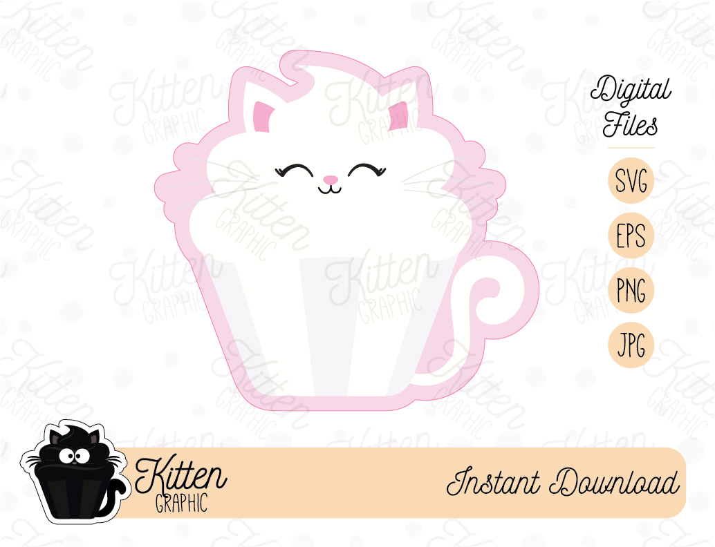 Download Free Cutie Kitten Cupcake Graphic By Kittengraphicstudio Creative for Cricut Explore, Silhouette and other cutting machines.