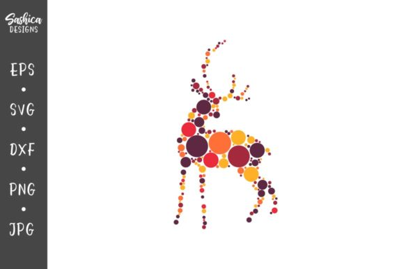Deer With Colorful Circles Vector Graphic By Sashica Designs