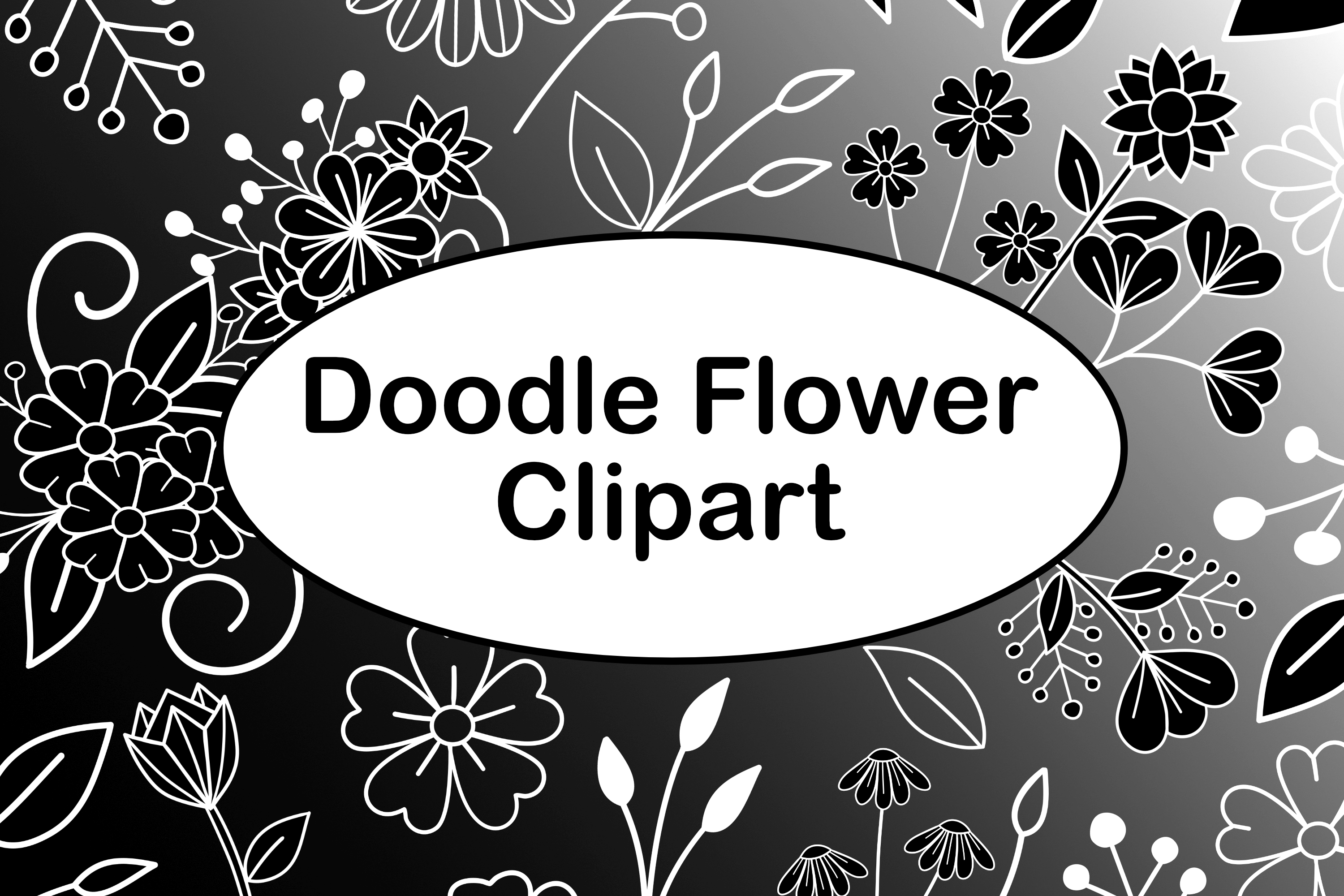 Download Free Doodle Flowers Dark With Digital Papers Graphic By Lila Lilyat for Cricut Explore, Silhouette and other cutting machines.