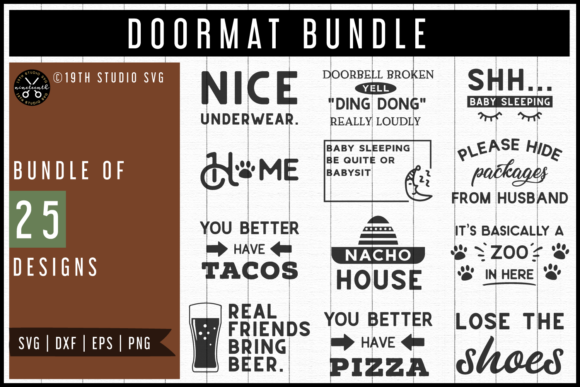 Download Free Doormat Designs Svg Bundle Graphic By 19th Studio Svg Creative for Cricut Explore, Silhouette and other cutting machines.