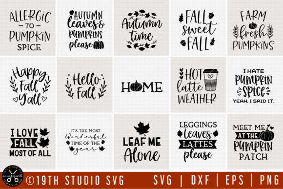 Download Free Fall Bundle Graphic By 19th Studio Svg Creative Fabrica for Cricut Explore, Silhouette and other cutting machines.