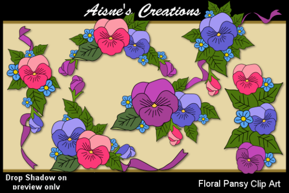 Download Free Floral Pansy Clip Art Graphic By Aisne Creative Fabrica for Cricut Explore, Silhouette and other cutting machines.