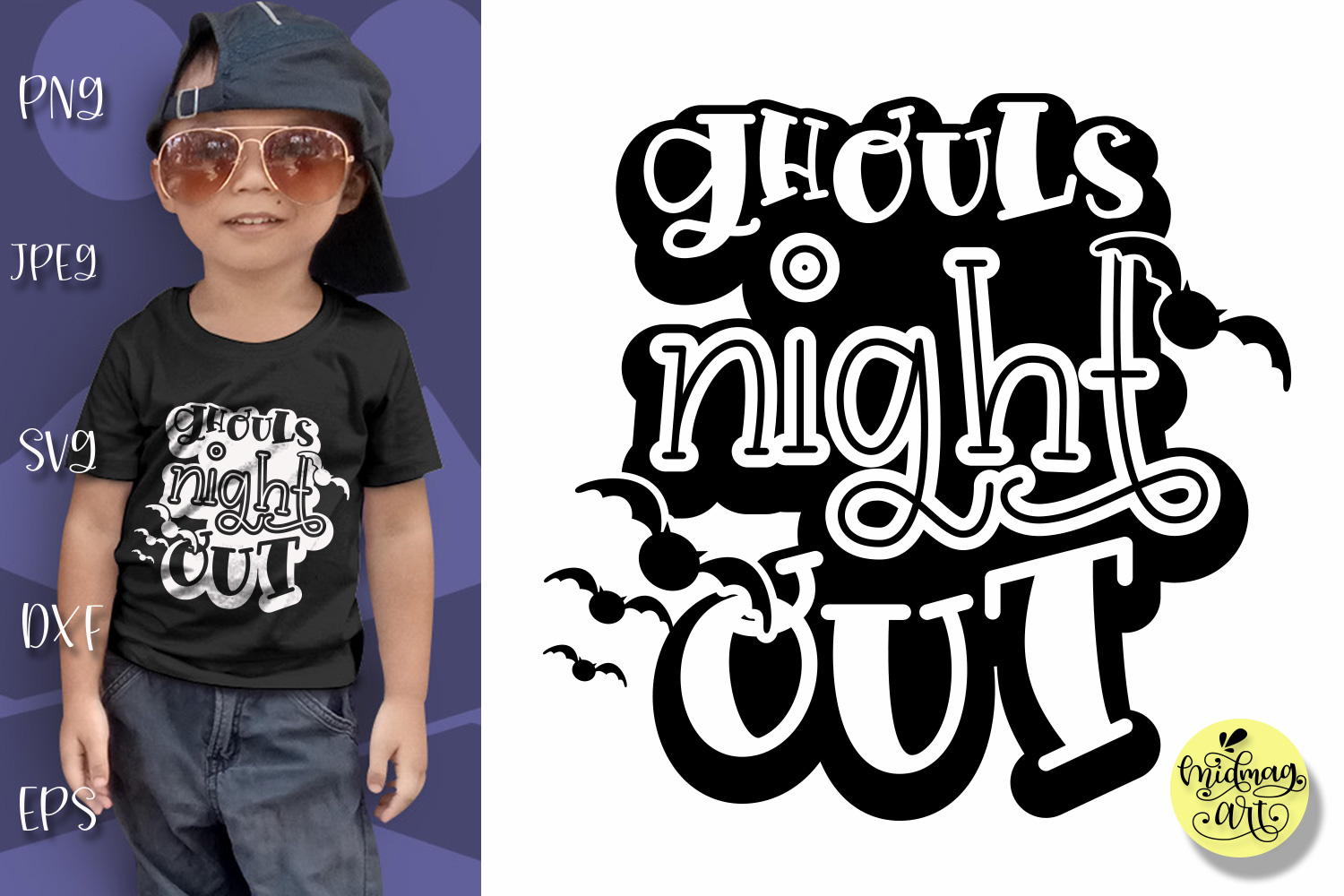 Download Free Ghouls Night Out Graphic By Midmagart Creative Fabrica for Cricut Explore, Silhouette and other cutting machines.