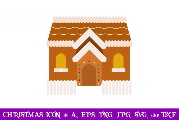 Download Free Gingerbread House Christmas Icon Graphic By Purplespoonpirates for Cricut Explore, Silhouette and other cutting machines.