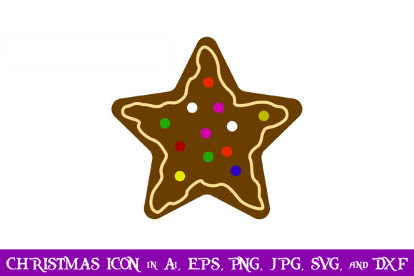 Download Free Gingerbread Star Christmas Icon Graphic By Purplespoonpirates Creative Fabrica for Cricut Explore, Silhouette and other cutting machines.