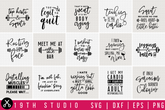 Download Free Gym Bundle Graphic By 19th Studio Svg Creative Fabrica for Cricut Explore, Silhouette and other cutting machines.