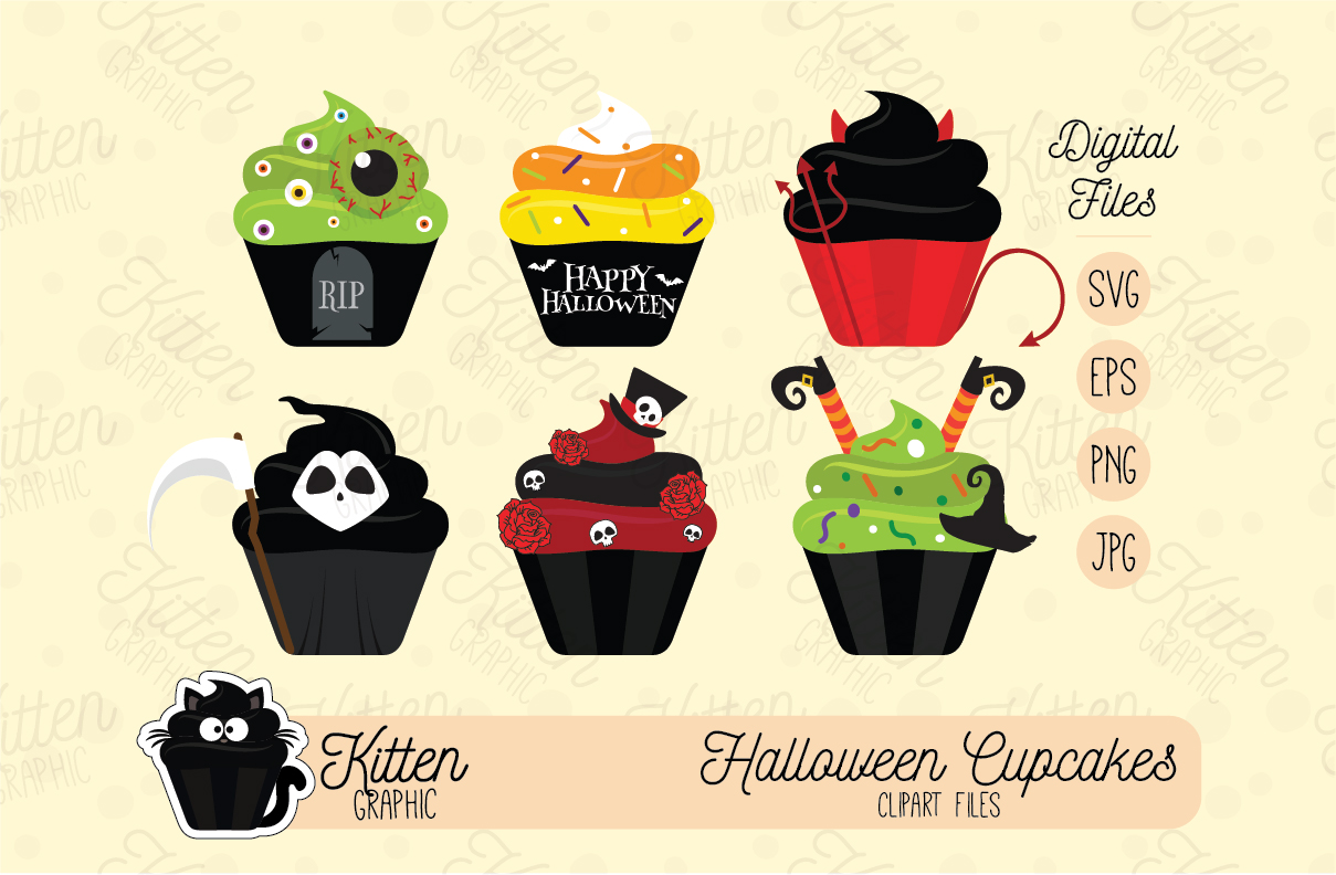 Download Free Halloween Cupcakes Set Graphic By Kittengraphicstudio Creative for Cricut Explore, Silhouette and other cutting machines.