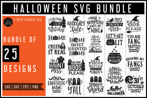 Download Free Halloween Bundle Graphic By 19th Studio Svg Creative Fabrica for Cricut Explore, Silhouette and other cutting machines.