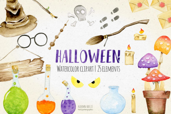 Halloween Watercolor Clipart Graphic Illustrations By AutumnBreeze