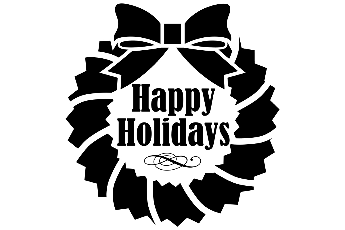 Download Free Happy Holidays Wreath Graphic By Idrawsilhouettes Creative Fabrica for Cricut Explore, Silhouette and other cutting machines.