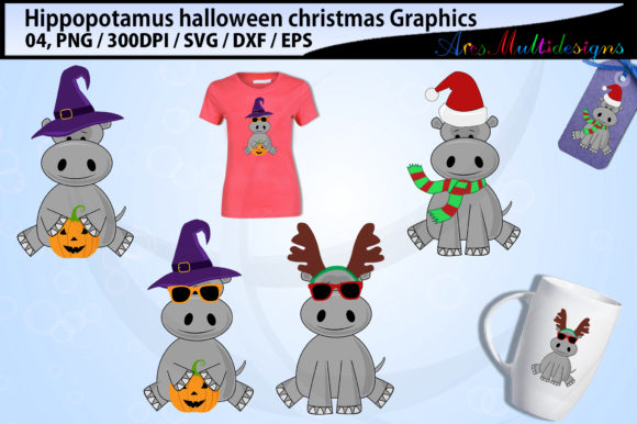 Hippopotamus Halloween and Christmas Graphic By Arcs Multidesigns