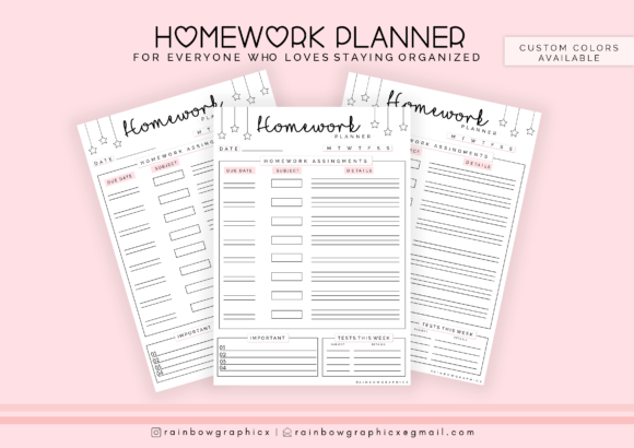 Print on Demand: Homework Planner Insert Graphic Crafts By RainbowGraphicx