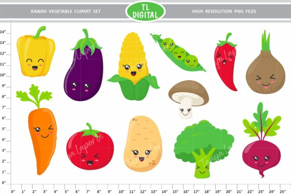 Kawaii Vegetable Clipart Set Graphic Illustrations By TL Digital