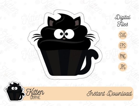 Kitten Cupcake Clipart Graphic By Kittengraphicstudio