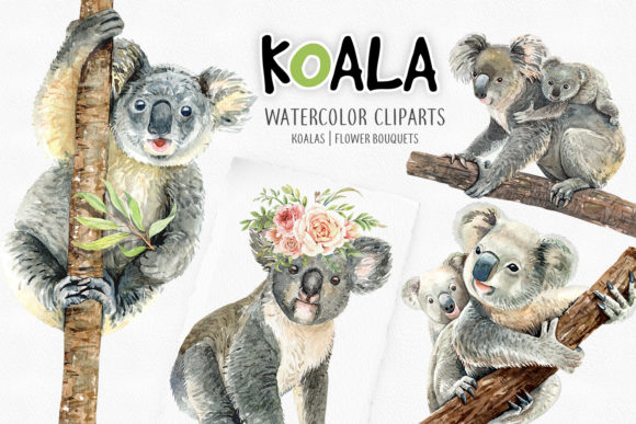Print on Demand: Koala Bear Animals Watercolor Cliparts Gráfico Ilustraciones Por SapG Art