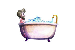 Man Taking Bath - Watercolor Style Craft Design By Creative Fabrica Crafts