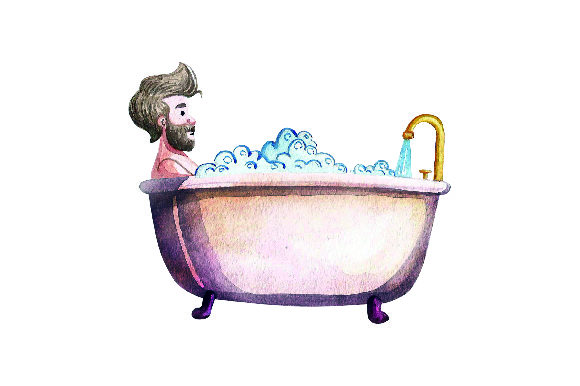 Man Taking Bath - Watercolor Style Badezimmer Plotterdatei von Creative Fabrica Crafts