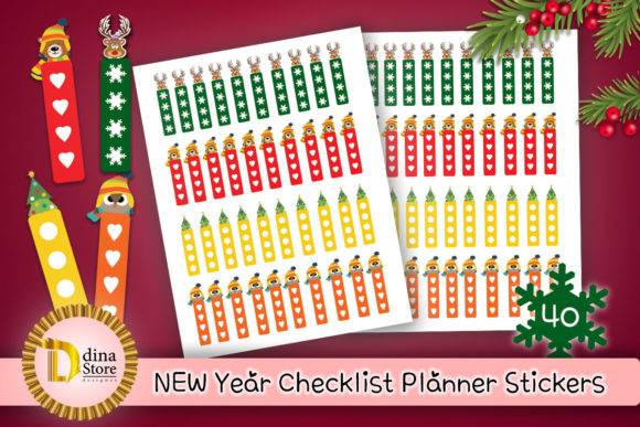 Print on Demand: New Year Checklist Planner Stickers Graphic Crafts By dina.store4art