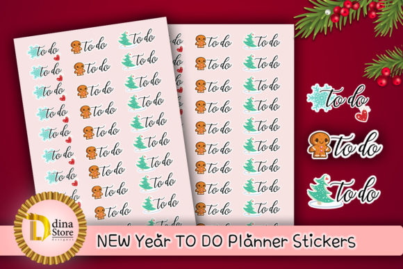 Print on Demand: New Year Todo Planner Stickers Graphic Crafts By dina.store4art