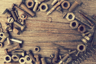 Nuts, Bolts and Screws on a Shabby Wood Graphic By fleurartmariia