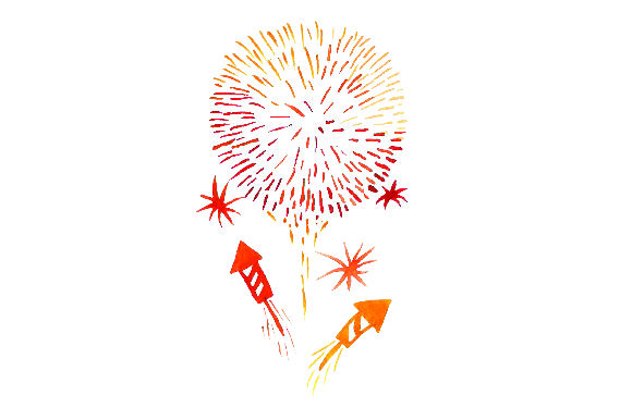 Orange Fireworks - Watercolor Style New Year's Craft Cut File By Creative Fabrica Crafts