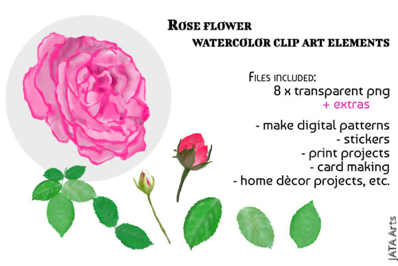 Download Free Pink Rose Clipart Bouquet Arrangements Graphic By Jata Arts for Cricut Explore, Silhouette and other cutting machines.
