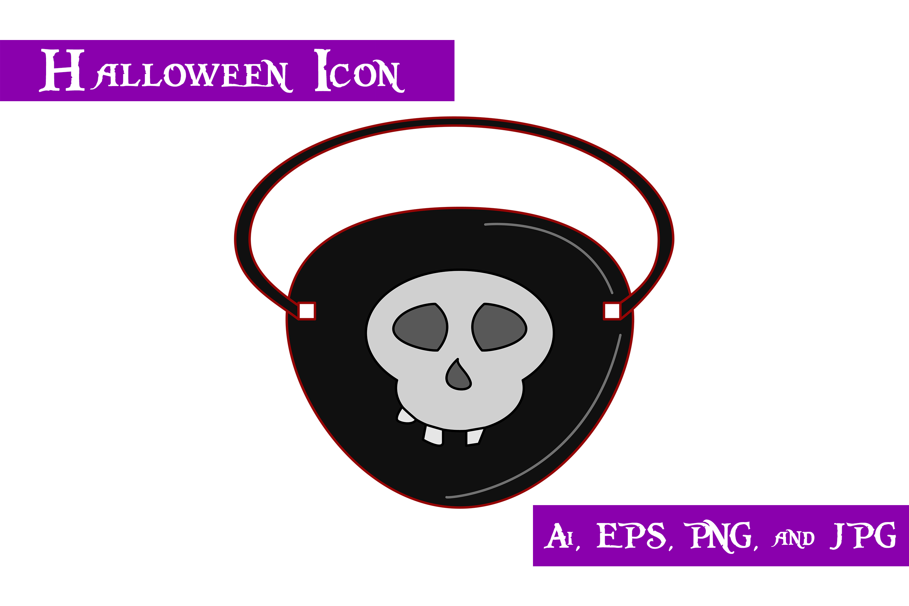 Download Free Pirate Eye Patch Halloween Icon Graphic By Purplespoonpirates for Cricut Explore, Silhouette and other cutting machines.