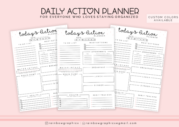 Print on Demand: Printable Planner Insert Page Graphic Crafts By RainbowGraphicx  - Image 1