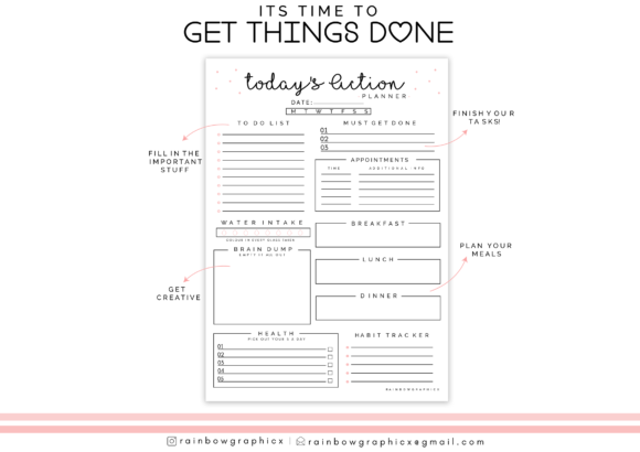 Print on Demand: Printable Planner Insert Page Graphic Crafts By RainbowGraphicx  - Image 3