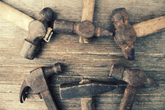 Retro Shabby Hammers on an Old Wood Graphic Architecture By fleurartmariia