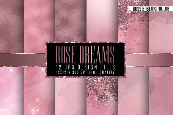 Print on Demand: Rose Dreams Digital Papers Graphic Textures By bossbabedigitallab