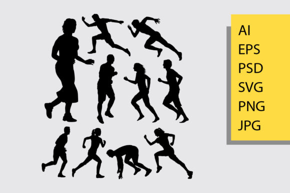 Running Silhouette Graphic Illustrations By Cove703