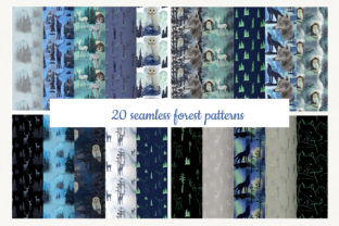 Set of 20 Winter Forest Seamless Pattern Graphic By Natalia Arkusha