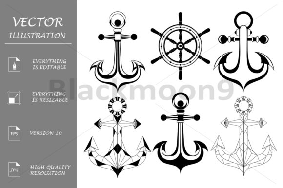 Silhouette Anchors Graphic Illustrations By Blackmoon9