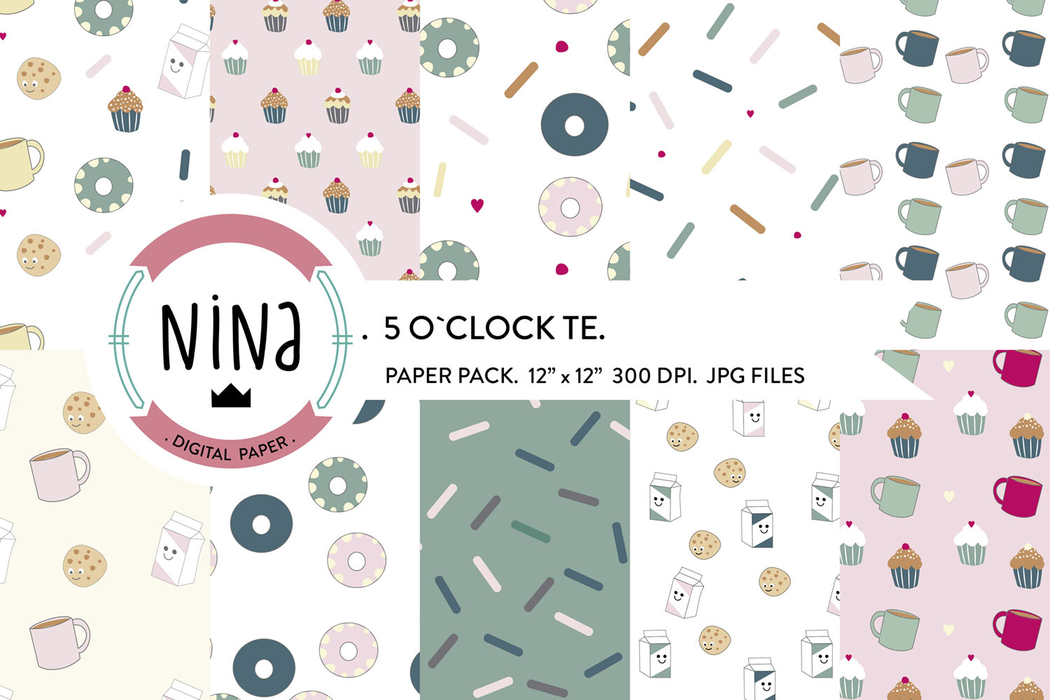 Download Free Te Digital Paper Pack Sweet Pattern Graphic By Nina Prints for Cricut Explore, Silhouette and other cutting machines.