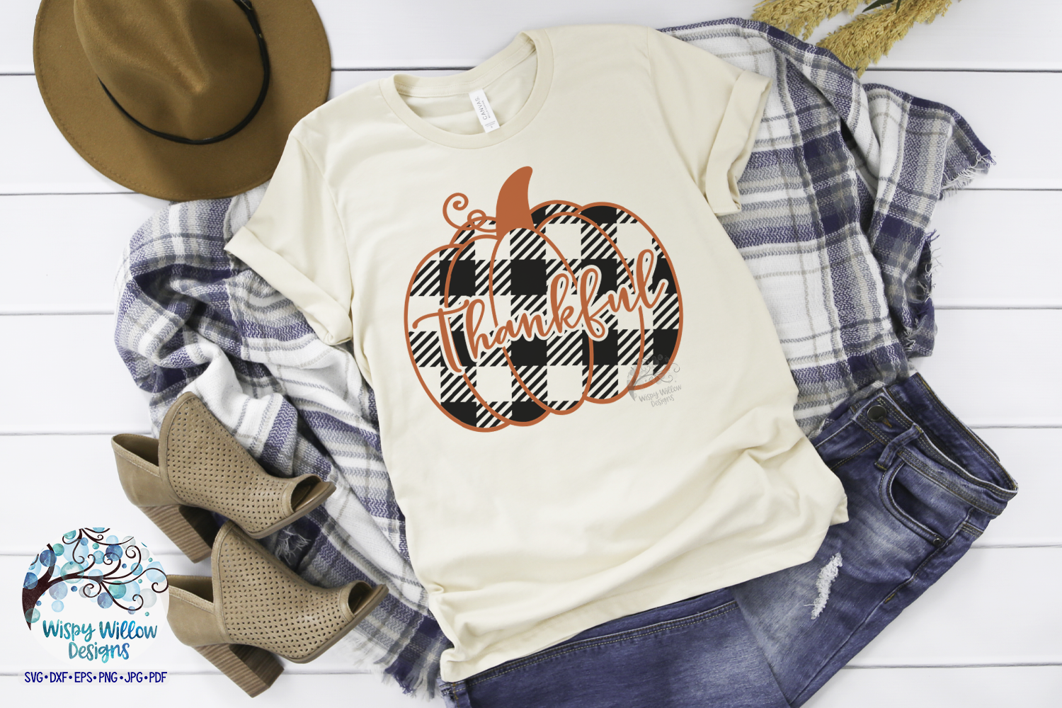 Download Free Thankful Buffalo Plaid Pumpkin Graphic By Wispywillowdesigns for Cricut Explore, Silhouette and other cutting machines.