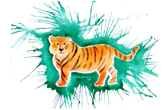 Download Free Tiger In Paint Splatter Watercolor Style Svg Cut File By for Cricut Explore, Silhouette and other cutting machines.