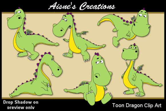 Print on Demand: Toon Dragon Clip Art Graphic Illustrations By Aisne