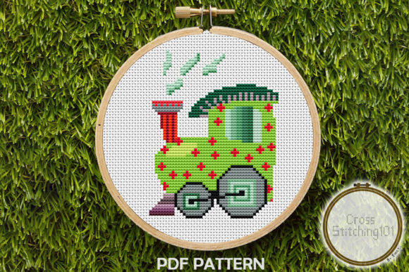 Download Free Train Engine Modern Cross Stitch Pattern Graphic By for Cricut Explore, Silhouette and other cutting machines.