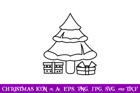 Download Free Tree And Gift Christmas Icon Graphic By Purplespoonpirates for Cricut Explore, Silhouette and other cutting machines.