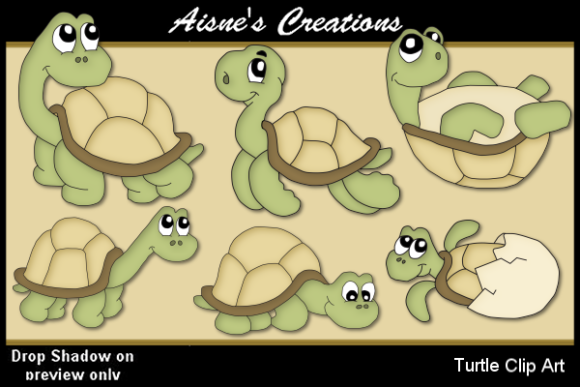 Print on Demand: Turtle Clip Art Graphic Illustrations By Aisne